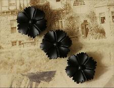10x Resin Cabochons Blumen zum Kleben 13mm schwarz tm263