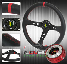 """320MM DEEP DISH STEERING WHEEL + RED 1.5"""" SLIM QUICK RELEASE & JDM HORN BUTTON"""