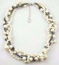 Talbots Multi Strands White Pearl Multi Color Chain Statement Necklace