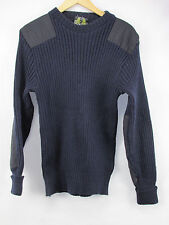 """Barbour Navy Wool Military Style Sweater Shoulder Elbow Patches Men's 40"""" (3) T2"""