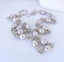 STUNNING HONORA PLUM OVAL PEARL  WITH HEAVY STERLING CONNECTORS TOGGLE CLASP NEW