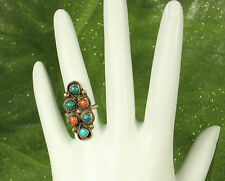1950s SILVER ZUNI PETIT POINT Ring~TURQUOISE & CORAL Gemstones~Sz 4.5~OLD PAWN