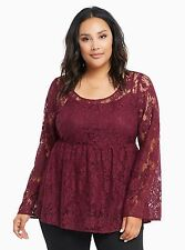 TORRID PLUS SIZE 6 6X 30 *SHEER* LACE TOP SHIRT BABYDOLL TUNIC BELL SLEEVES 5X