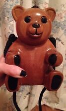 Vintage Timmy Woods Beverly Hills Collection Teddy Bear Purse Acacia Wood