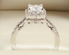 1.70 CT PRINCESS BRILLIANT CUT  ENGAGEMENT WEDDING RING SOLID 14K WHITE GOLD