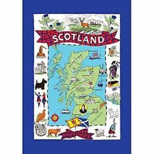 "SCOTTISH TEA TOWEL ""ICONS MAP OF SCOTLAND"" 100% COTTON"