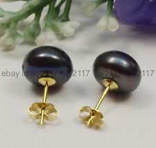 Fashion Natural 11-12mm Black Akoya Freshwater Pearl Earrings 14K Gold Plated