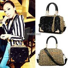 Womens Handbag PU Leather Leopard Print Paillette Sequin Shoulder Messenger Bag