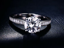 JEWELRY HSO Round Brilliant cut halo Solitaire Engagement ring 14K White Gold