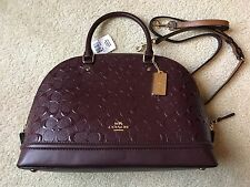 NWT Coach Sierra Satchel Dome Signature Debossed Patent Leather Oxblood F55449