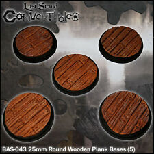 LAST STAND CONVERTIBLES BITS - 5x 25mm ROUND WOODEN PLANK BASES