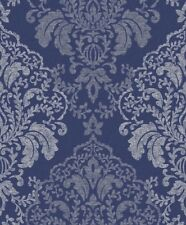 GRAND DECO NEW DAMASK GLITTER BLUE WALLPAPER BOC - 12 -06-08