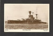 REAL-PHOTO POSTCARD:  HMS RESOLUTION - BRITISH NAVY WORLD WAR 2 BATTLESHIP