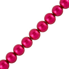 "Deep Pink Glass Pearl Beads Round (12mm) - Sold on 15.5"" Strand (G29/2)"