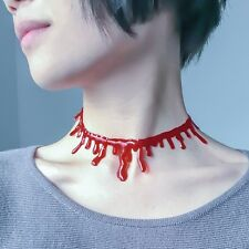 Halloween Vampire Red Bloodstains Blood Zombie Chain Choker Collar Punk Necklace