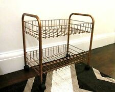 Copper Rose Gold Wire Storage Trolley Rack Shelves Shoe Rack Book Shelf 2 Tier