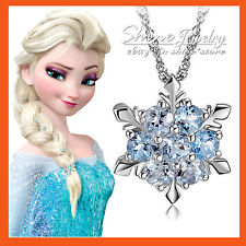 SILVER PLATED SNOWFLAKE FROZEN QUEEN Elsa BLUE SWAROVSKI SOLID NECKLACE GIFT