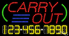 """NEW """"CARRY OUT"""" 32x17 w/YOUR PHONE NUMBER SOLID/ANIMATED LED SIGN 25021"""