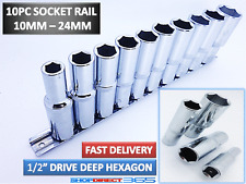 "10pc Disco de 1/2"" Socket Set Profundo 10-24mm métrico Sockets Y Riel CRV largo alcance 4-7"