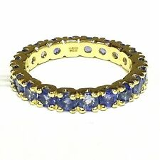 3.00 Carat Round Sapphire Claw Set Full Eternity Ring Crafted in Yellow Gold .