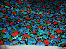 BRIGHT RED & BLUE FLOWERS ON JET BLACK COTTON QUILT FABRIC