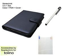 Tasche Stift & Folie f Tolino Shine Sparset: Case Pen & Displayfolie schwarz