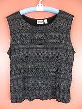 STK1627-CHICO'S Woman Slinky Knit Tank Top Black Blue Crystals Print Geo 3 L XL
