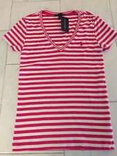 NWT POLO RALPH LAUREN LADIES SS PINK & WHITE RIBBED V-NECK TEE SHIRT MEDIUM