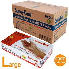 10,000 Poly Disposable Food Service HDPE Gloves (Latex Vinyl Nitrile Free) LARGE