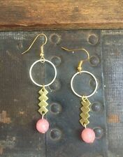 Handmade Summer Earrings Circle Brass Round Pink Jade Gem Geometric Antique Gold