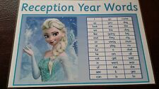 Reception Words - A4 Laminated Poster- read write spell recognise- Frozen themed