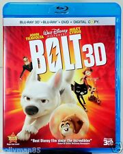 BLU-RAY 3D ONLY! - Disney - Bolt (2008) - with Case, Art & Slipcover