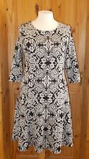 MONSOON black cream floral stretch 3/4 sleeve fit & flare dress midi knee 16 44