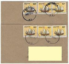 "Singapore covers - Ship stamps varieties normal & ""Broken Bow"" used together"