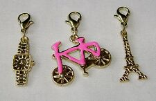 3 GOLD TONE CHARMS FOR BRACELET ETC EIFFEL TOWER WATCH & PINK BIKE EMELIA C2