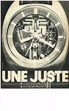 PUBLICITE  1970   BULOVA  montre ACCUTRON UNE JUSTE