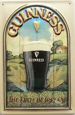 """GUINNESS COLLECTIBLE METAL SIGN THE TASTE OF IRELAND EMBOSSED 8"""" X 12"""" SIZE 7"""