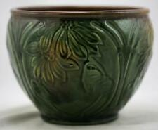 "WELLER COLORED GLAZE 6"" x 8"" JARDINIERE STYLIZED DAISIES GREEN/BROWN GLAZE MINT"