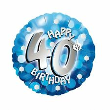 "Blue Sparkle Age 40 40th 18"" Birthday Helium Foil Balloon"