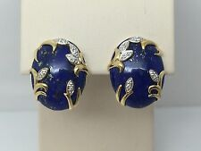 14K YELLOW GOLD LAPIS LAZULI & DIAMOND OMEGA BACK EARRINGS