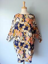 *NWT NEW ASOS Blue Multi-Color Floral Batwing Sleeve Dress Women 6 S