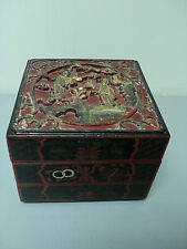 UNUSUAL ANTIQUE ORIENTAL LACQUERED 3-SECTION STACKING WOODEN BOX w/ CARVED TOP
