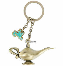 Disney Aladdin Genie's Lamp Burnished Brass Keychain Key Ring Chain Metal Charm