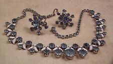 WEISS Unsigned Blue Rhinestone and White Enamel Necklace, Earrings