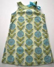Girls JUST DUCKY Sz 5 Green Blue Flower Print Ribbon Tie Summer Shift Dress