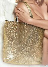 New Victoria's Secret Heavenly Gold Sparkle Sequin Tote Bag Beach Purse Shopper