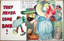 1910 Postcard: Fat Woman in Large Hat, Shopping w/Store Clerk - Comic
