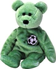 TY Beanie Baby KICKS Soccer TEDDY BEAR Retired New MWMT Plush Bean Bag Toy!