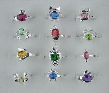 wholesale 10Pcs LF 925 silver Plated kid's animal CZ Rings 4-6
