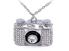 Heavy Bling Ice Out Silver Tone Finished Camera Costume Vogue Pendant Necklace